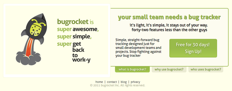 Early Bugrocket Homepage